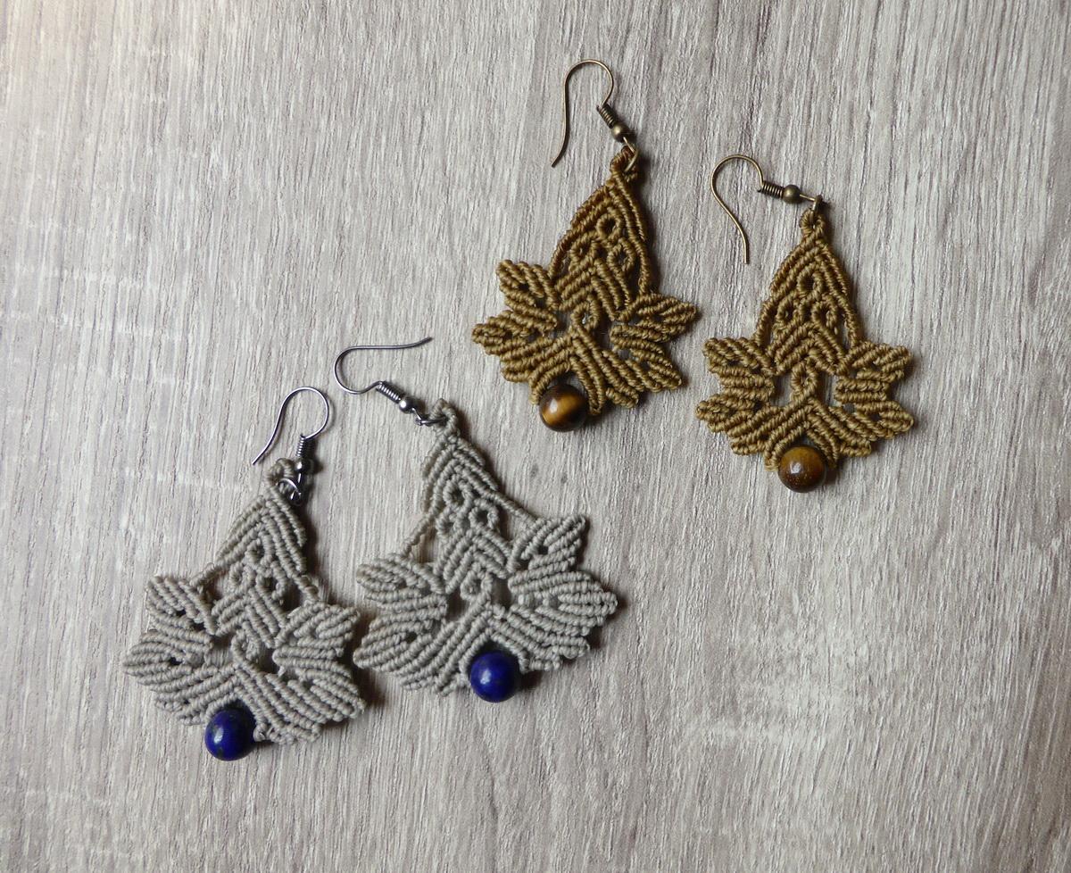 Makrame minđuše sa kamenim perlama i lišćem